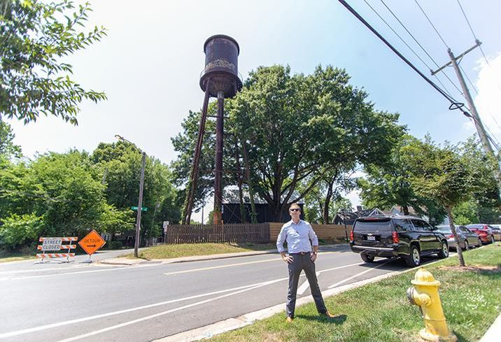 A.J. Klenk bought a water tower in Charlotte after neighbors voiced concerns about developers tearing it down.