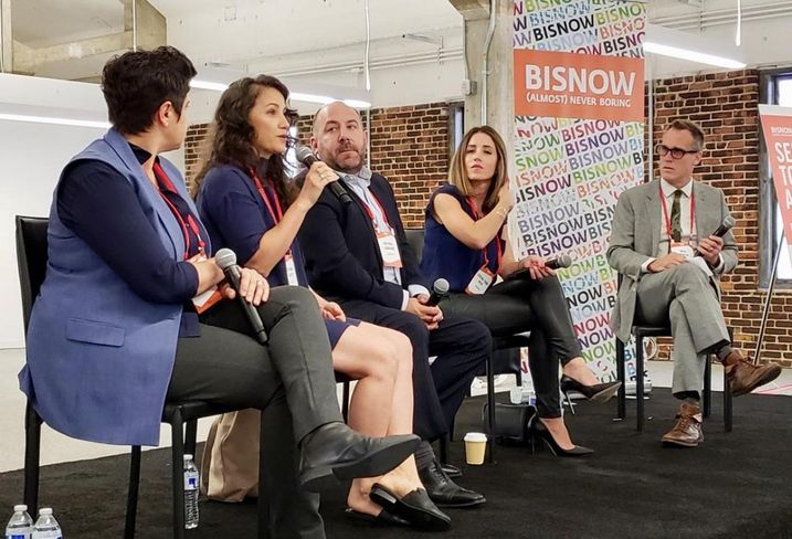 Swinerton's Lia Tatevosian, Art Share LA's Cheyanne Sauter, LoGrande & Co.'s Michael LoGrande, Urbanlime's Lorena Tomb Reed and Downtown Center BID's Nick Griffin at Bisnow's LA Neighborhood Series: The Arts District held July 19, 2018 at the PacMutual building in downtown Los Angeles.
