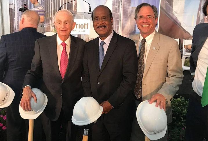 Bill Marriott, County Executive Ike Leggett and Roger Berliner, a county councilmember and county executive candidate
