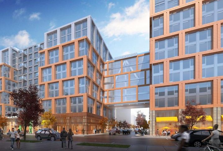 A rendering of Redbrick's 2.3M SF Columbian Quarter development on Poplar Point