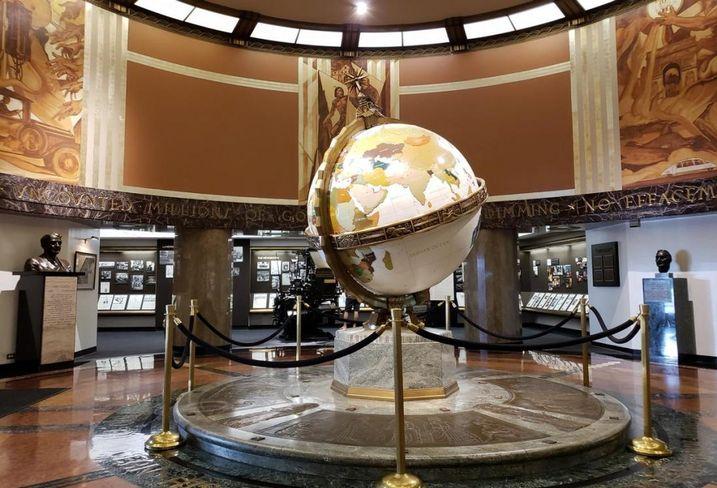 The Globe lobby inside the LA Times building in downtown LA