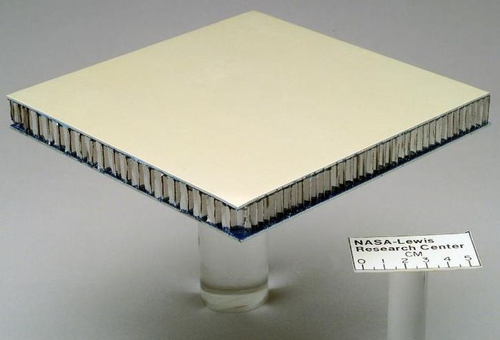 NASA Image of Glass Reinforced Aluminum (GLARE) Honeycomb composite sandwich structure