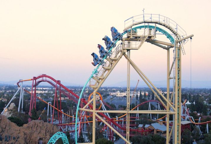 Knott's Berry Farm introduced the first and only dive coaster in California. Called HangTime, the roller coaster climbs riders up 150 feet, stalls for a few seconds before dropping.