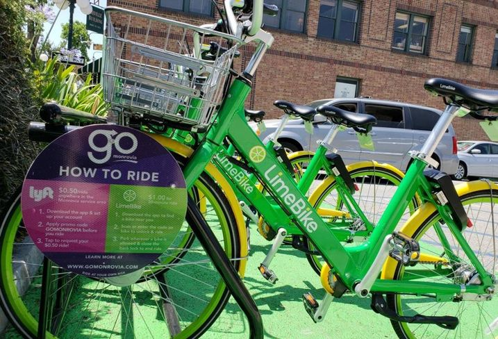 Limebikes and advertisements for the GoMonrovia program.