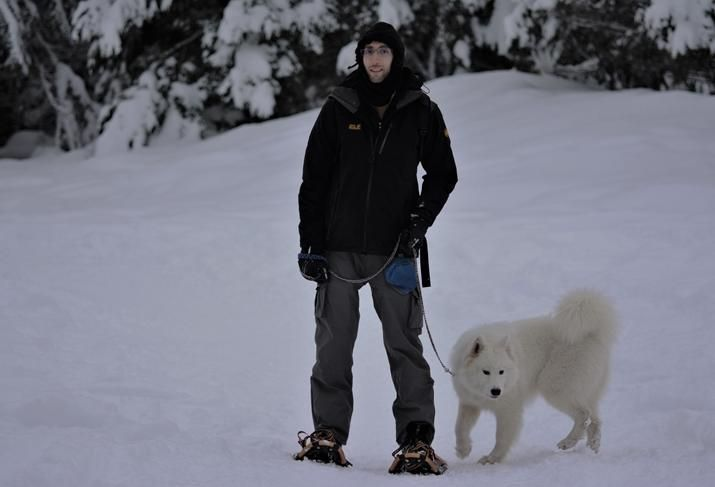 Radical Galaxy Studio's Matthew Shaffer with his dog, Emmy