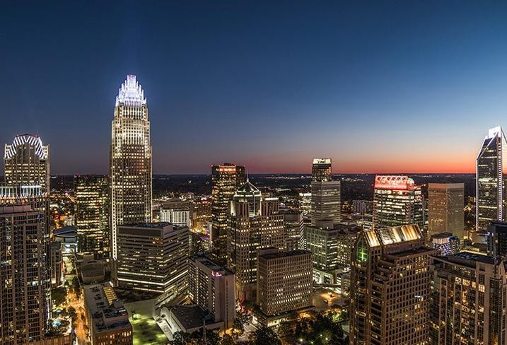 The view of Charlotte's skyline from The Vue residential towers