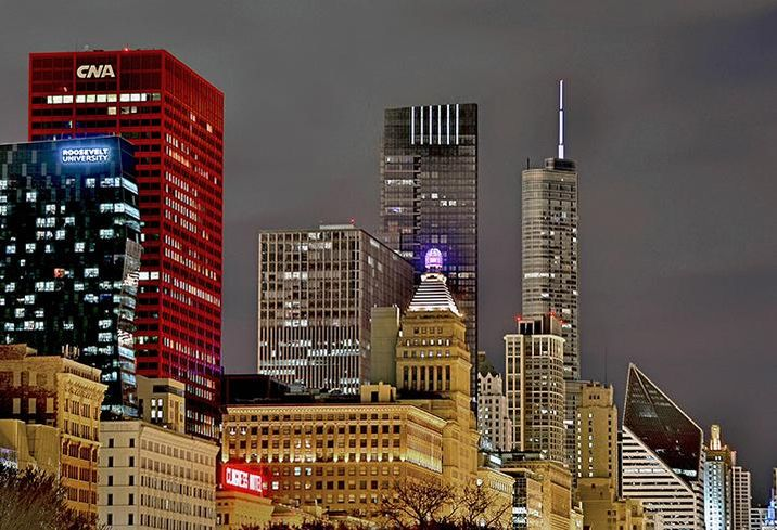 A view of Chicago includes Legacy at Millennium Park and the Heritage at Millennium Park, Avison Young-developed projects