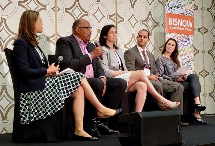 Manatt, Phelps & Phillips' Grace Winters, Avanath Capital Management's Daryl Carter, The Pacific Cos.' Mindy Rex,  Bueno Group's Andre Bueno and Align Finance Partners' Dani Evanson at BMAC SoCal at the JW Marriott in Los Angeles.