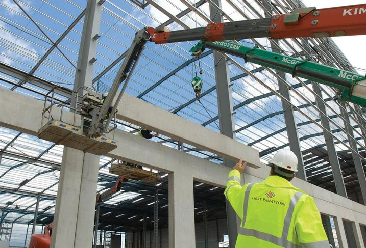 Construction site warehouse industrial steel framework first panattoni