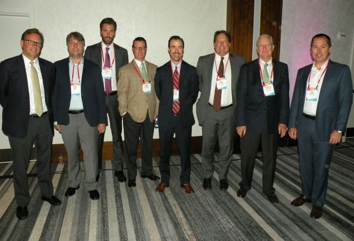 CenterPoint Properties Chief Investment Officer Jim Clewlow, CoStar Group Director Rene Circ, Gramercy Property Trust Chief Investment Officer Nick Pell, Stag Industrial Senior Vice President Brad Sweeney, TH Real Estate Managing Director Graydon Bouchillon, Inland Mortgage Capital President Art Rendak, Seefried Industrial Properties Executive Chairman Ferdinand Seefried and Avison Young Principal Eric Foster