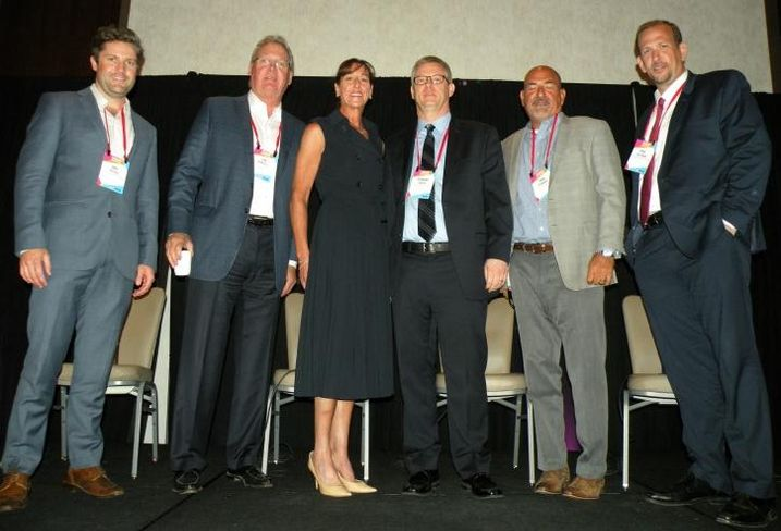 Pepper Construction Vice President Jake Pepper, Logistics Property Co. CEO Jim Martell, WBS Equities CEO and founder Wendy Berger, Meridian Design Build Executive Vice President Howard Green, FCL Builders Principal Fred Johanns and Heitman Architects Director Paul Heitman