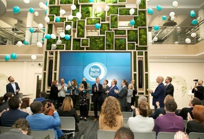 New Relic's Dublin office with green wall
