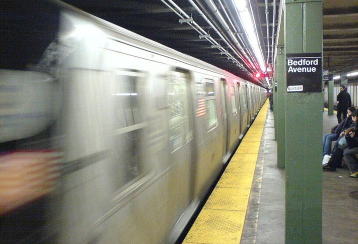 The L Train at the Bedford Avenue subway stop in Williamsburg, Brooklyn
