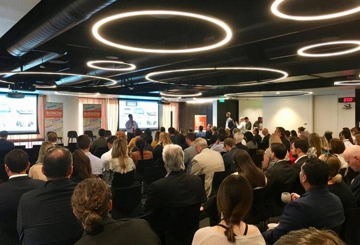 Downtown Center Business Improvement District's Elan Shore gave opening remarks at Bisnow's Los Angeles Office: Workplace Of The Future Event Aug. 29, 2018 in the Convene space at the Wells Fargo Center in downtown Los Angeles.