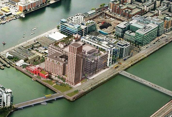 CGI of Kennedy Wilson's Capital Dock scheme with its 22-storey Hailing Station BTR building