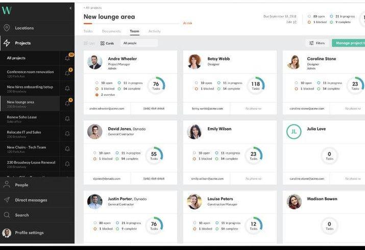 A snapshot of Workframe's collaboration platform