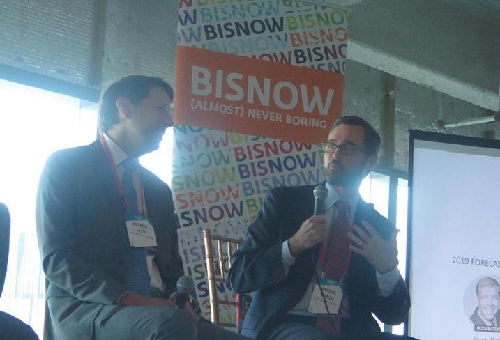 Greenworks Lending Principal Andrew Zech listens as Crocker Partners Managing Partner Angelo Bianco speak at Bisnow's Miami State of the Market event Sept. 20, 2018.