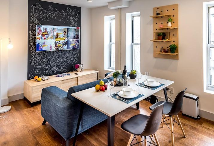The common dining room at a Quarters co-living location on the Lower East Side of Manhattan
