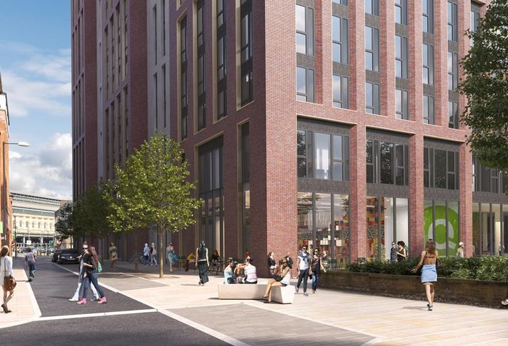 IQ Student Accommodation's Echo Street project in Manchester, featuring towers of 25, 20, and 14 storeys, coliving co-living