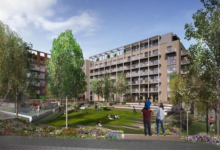Artist's rendering of the PRS element of City Block 3 in Dublin's north docklands