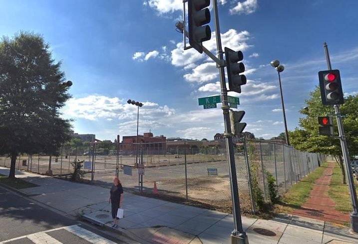 The lot at 1st and K streets NW where Pepco plans to build a substation
