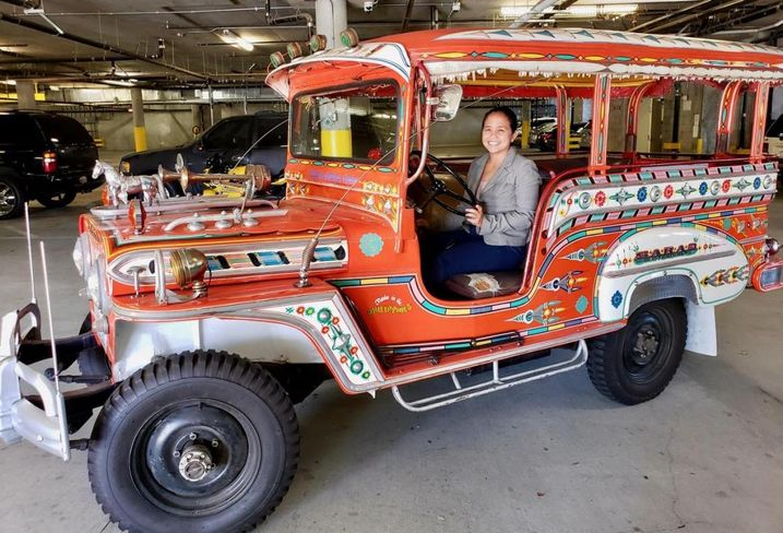 Pilipino Workers Center Co-Founder Aquilina Soriano on a Jeepney at the nonprofit's headquarters in Historic Filipinotown.