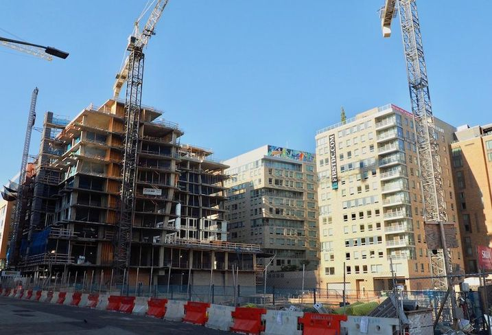 Apartment construction near Nationals Park in the Capitol Riverfront neighborhood