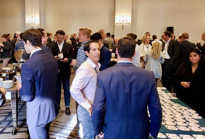 Attendees network at Bisnow's Future of South Orange County event at the Irvine Marriott.