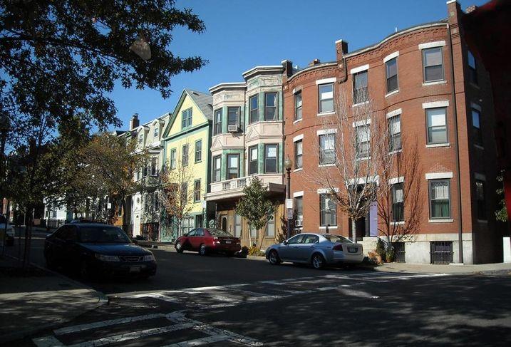 A residential street in Charlestown, Boston