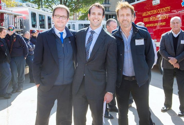Penzance Managing Partner Victor Tolkan, Penzance Vice President of Development John Kusturiss and Vida Fitness founder David Von Storch at Wednesday's groundbreaking of The Highlands