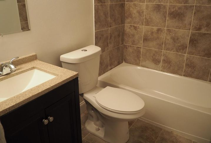 The bathroom in a three-bedroom unit at 4955 G St. SE