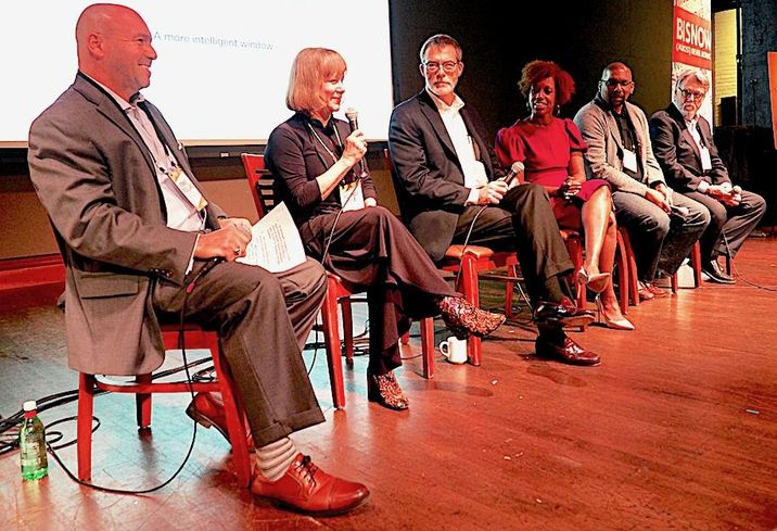 Chesapeake Contracting Group's Ronnie Brouillard, Hickok Cole's Yolanda Cole, Fox Architects' Bob Fox, Determined By Design's Kia Witherspoon, Baskervill's Burt Pinnock and BKV Group's Jack Boarman
