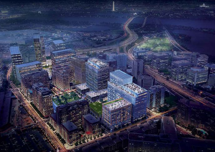 A rendering of the north section of Amazon's National landing, including parts of Pentagon City and Crystal City
