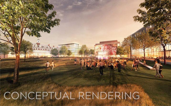 A rendering of the Virginia Tech campus at Potomac Yard