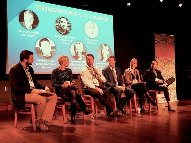 Bisnow's Ethan Rothstein, Solidcore's Anne Mahlum, Vida Fitness' David Von Storch, Rappaport's Henry Fonvielle, Brookfield's Melanie Stehmer-Townsend and OrangeTheory Fitness' Anthony Bianucci
