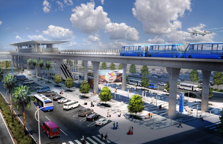 Rendering of the Automated People Mover System at Los Angeles International Airport LAX