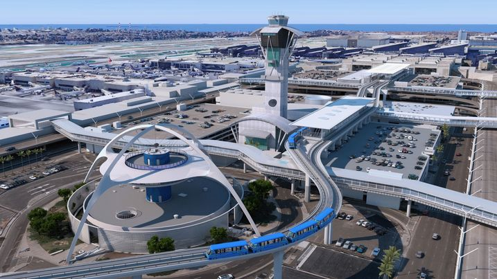 An aerial view of the people mover system at LAX