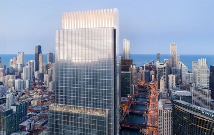 A rendering of the proposed Wolf Point South, designed by Pelli Clarke Pelli Architects.