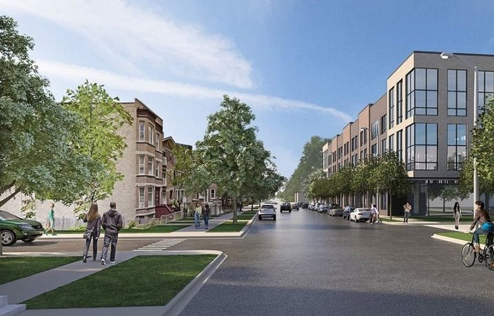 A view of Ogden Commons, a new community in North Lawndale.