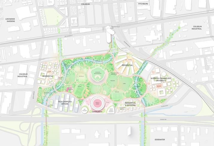 The site plan for the Coliseum site in East Oakland