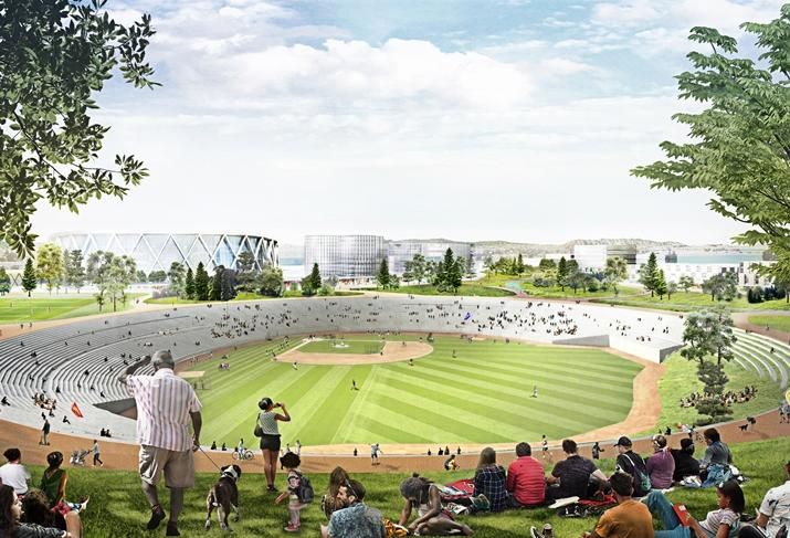 Rendering of the amphitheater that would replace the Oakland Coliseum