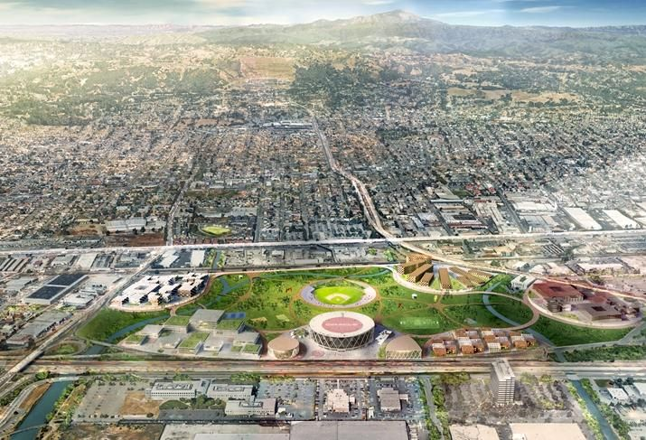 The redeveloped Oakland Coliseum and Oracle Arena site