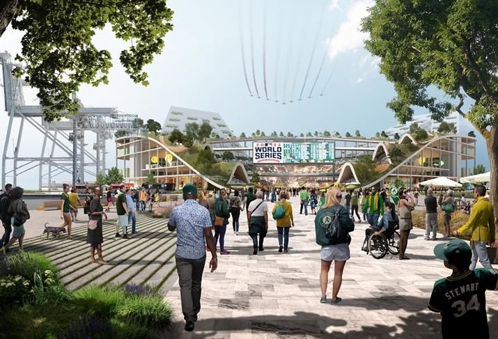 BIG's rendering of the Oakland A's proposed waterfront stadium