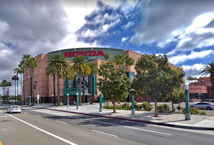 The Honda Center in Anaheim, the Anaheim Ducks' home. Owned by billionaire Henry Samueli