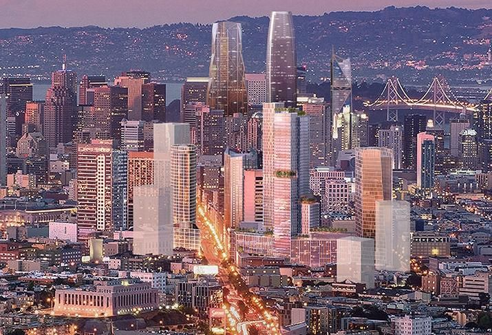 Rendering of how one of the proposals for 10 South Van Ness (to the right of the road with green roofs) would fit into San Francisco's changing skyline