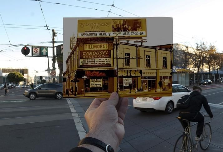 A photo of the Fillmore West from its heyday in front of the site today at 10 South Van Ness in San Francisco