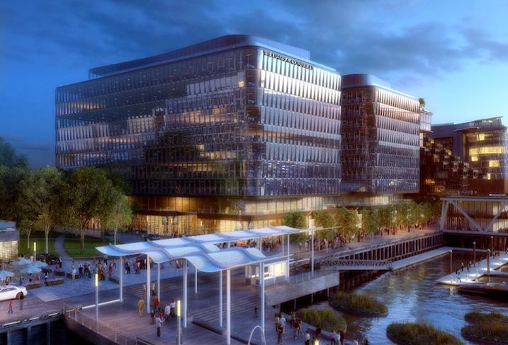 A rendering of the Parcel 6 and 7 office buildings at The Wharf's Phase 2