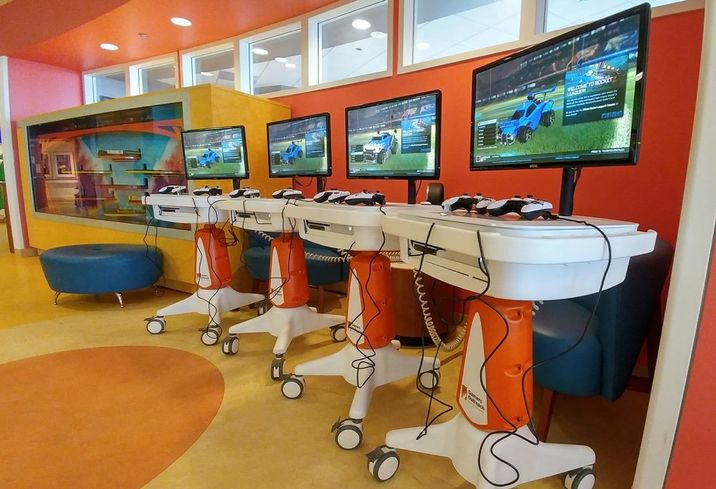 Gamers Outreach Karts or GO Karts are medical grade video game units to keep sick kids occupied while being treated at hospitals