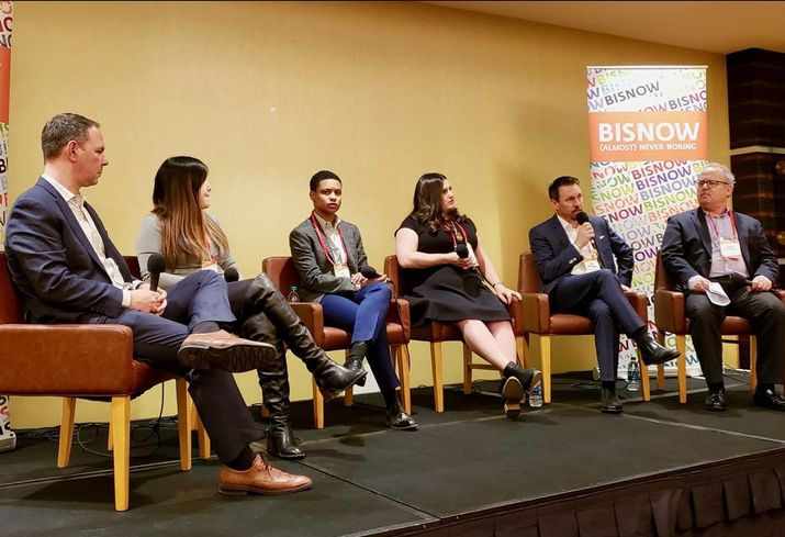Arcview Group CEO Troy Dayton, PLUS Products Chief Risk Officer Jennifer Tung, The Los Angeles Department of Cannabis Regulation Executive Director Cat Packer, CannaRegs CEO & Founder Amanda Ostrowitz, Englander, Knabe & Allen Partner Jeff McConnell and Seyfarth Shaw LLP Senior Counsel Stanley Jutkowitz at Bisnow's the Future of Cannabis Los Angeles event at the L.A. Grand Hotel in downtown Los Angeles.