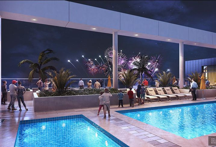Rendering of the rooftop pool on top of the Radisson Blu in Anaheim